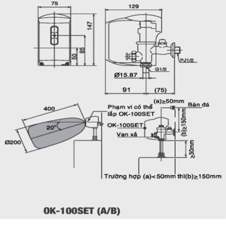Van xả tiểu cảm ứng Inax OK-100SET(A/B) 1