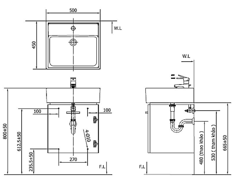 Bản vẽ kĩ thuật Bộ tủ chậu INAX CB0504-4IF-B