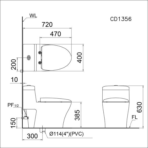 Bản vẽ kĩ thuật Bàn cầu 1 khối Caesar CD1356