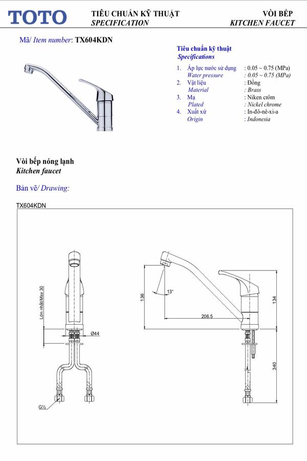 Vòi rửa bát nóng lạnh ToTo TX604KDN