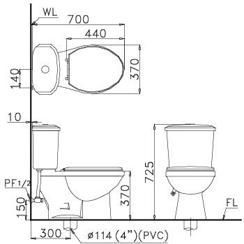 Bàn Cầu Hai Khối CT 1338 một chế độ xả nắp thường 2