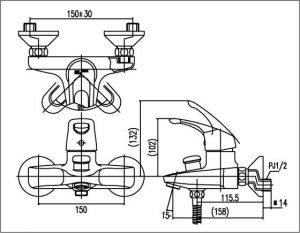 Vòi sen tắm nóng lạnh INAX BFV-203S 2