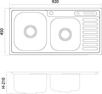 Chậu rửa bát PICENZA INOX PZ9-9245B 2