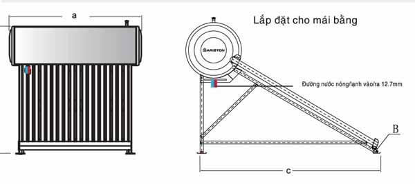 Giàn năng lượng Ariston Eco 1812 Mái bằng (12 ống Ø58 – 150L) 1
