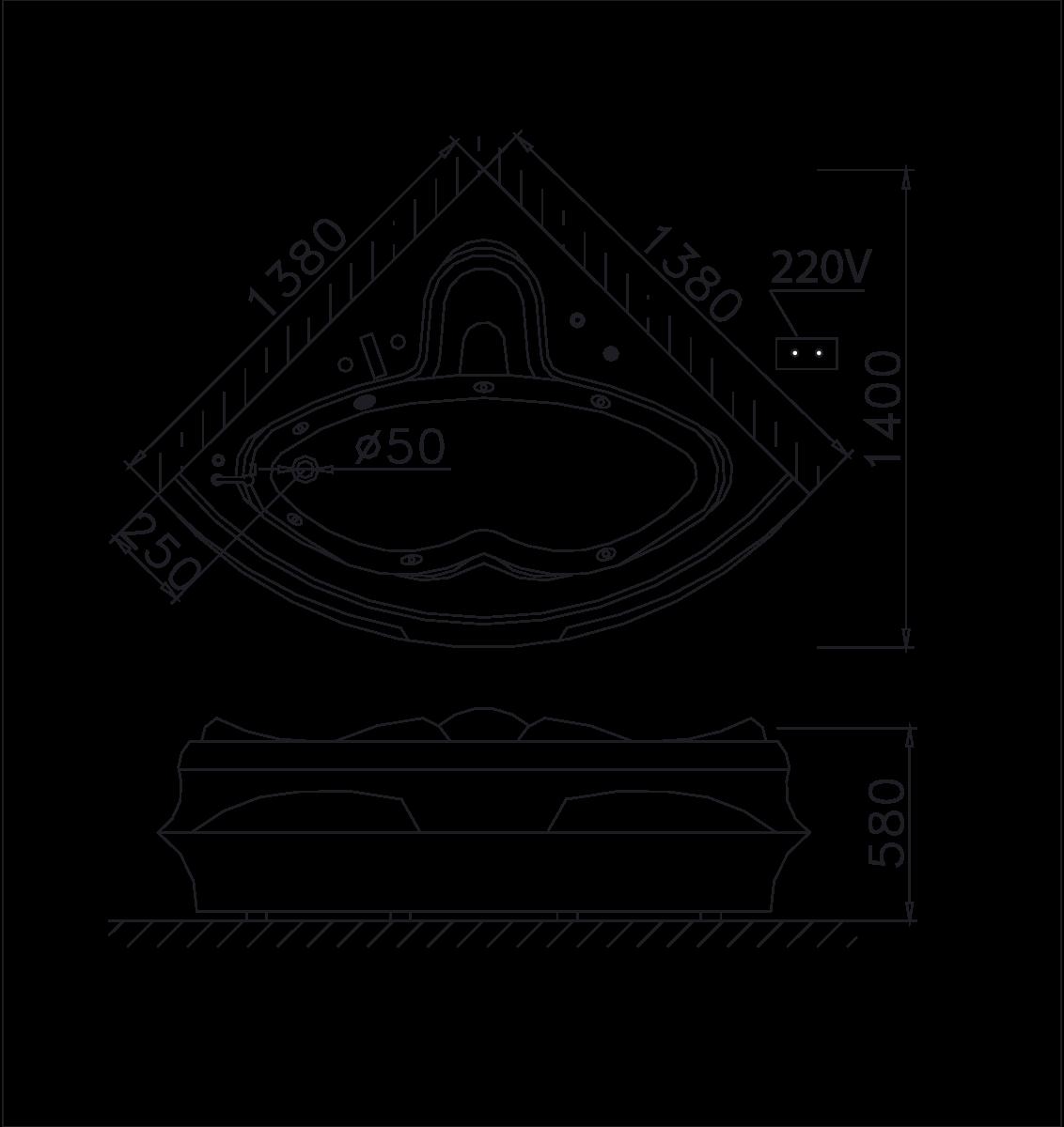 Bản vẽ Bồn tắm góc Massage Caesar MT5132A