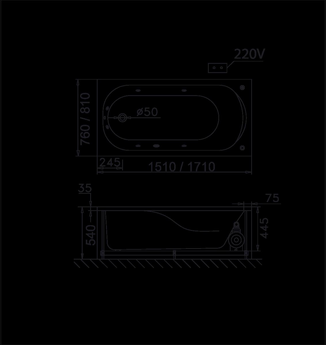 Bản vẽ kỹ thuật bồn tắm massage MT0170