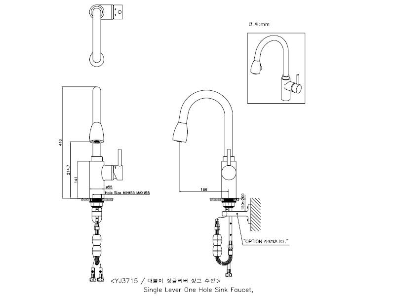 Bản vẽ vòi rửa bát nóng lạnh Sobisung YJ-3725