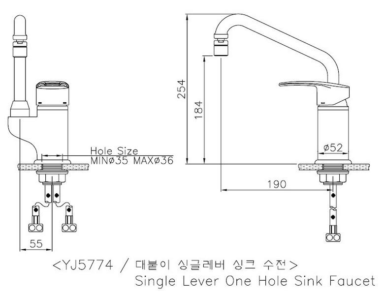 Bản vẽ vòi rửa bát nóng lạnh Sobisung YJ-5774