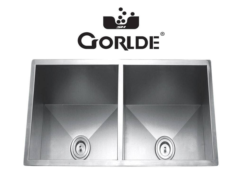 Chậu rửa bát đúc liền khối 2 hố GORLDE G-1 1