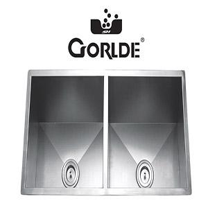 Chậu rửa bát đúc liền khối 2 hố GORLDE G-1