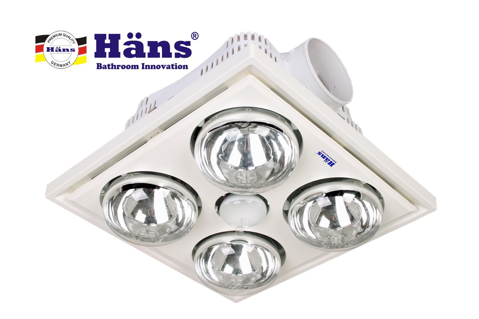 Đèn sưởi 4 bóng âm trần Hans H4B công tắc 1