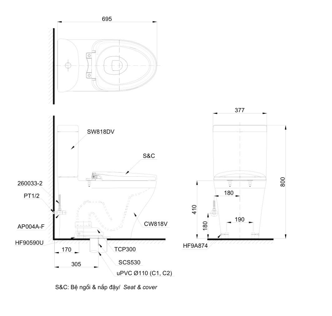 Thông số kĩ thuật Bồn cầu TOTO CS818DW6 nắp điện tử hai khối