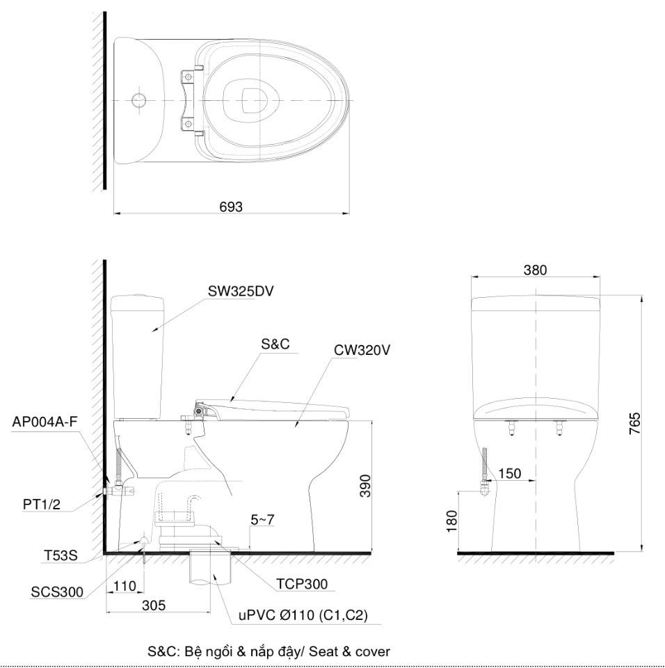 Bản vẽ kĩ thuật bồn cầu ToTo 2 khối CS325DRE2