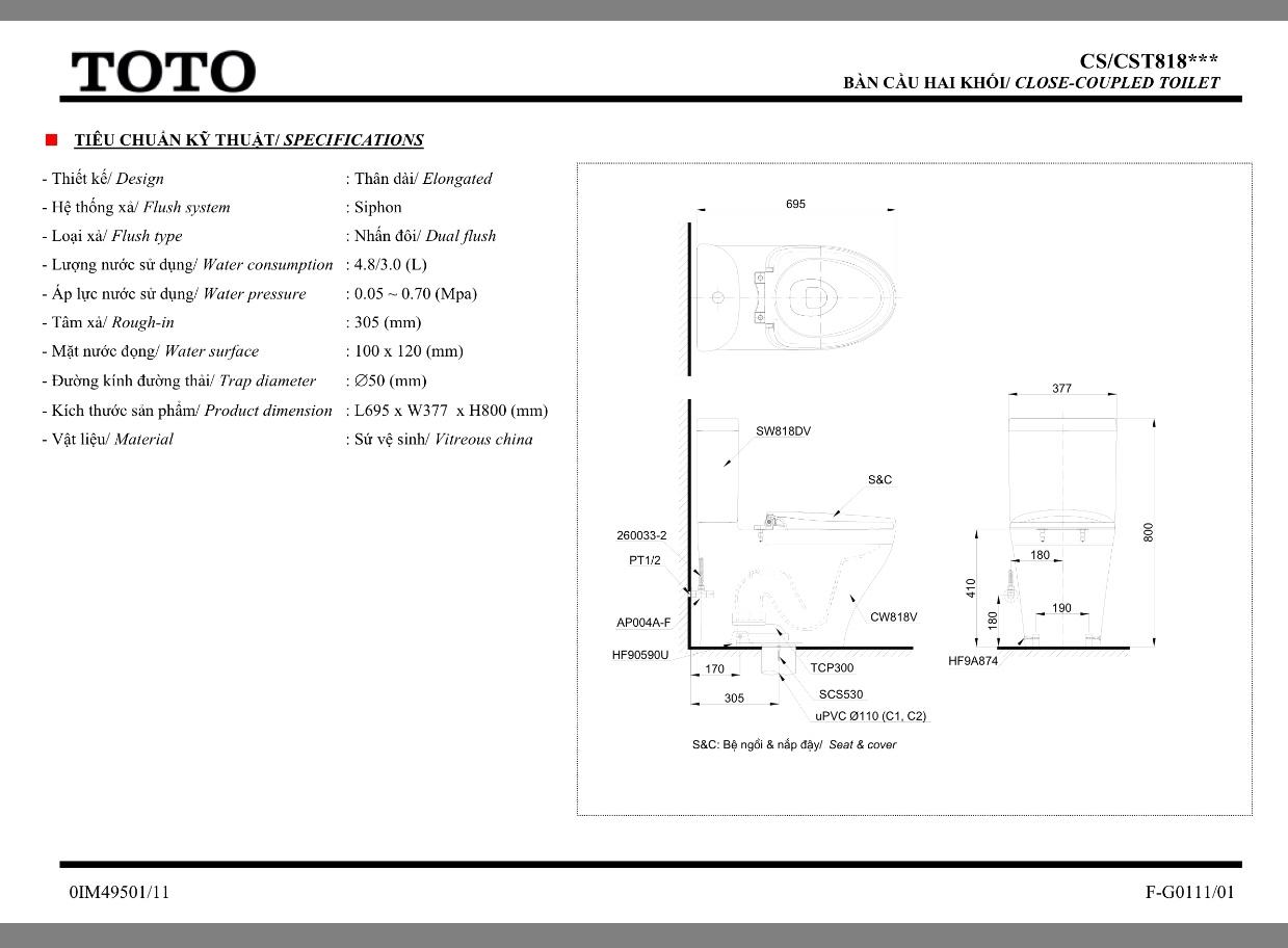 Bàn cầu TOTO 2 khối CS818DW7kèm rửa điện tử Washlet TCF6631A