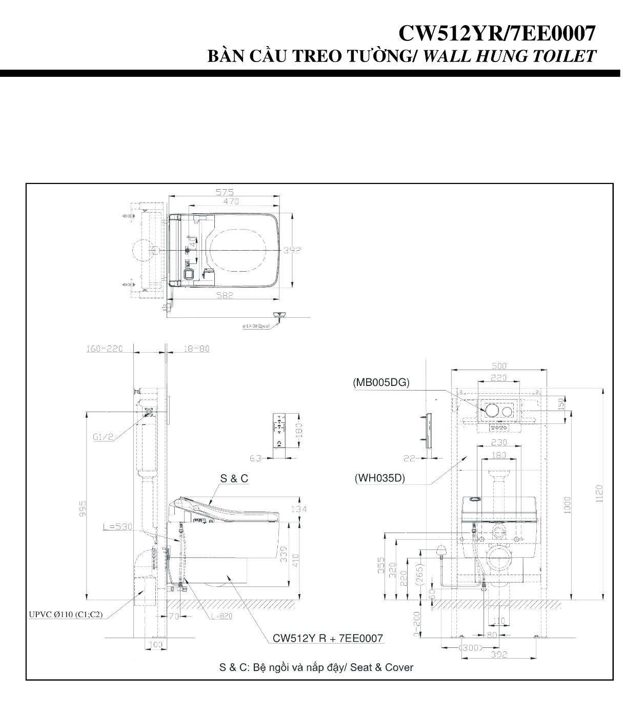 Bồn cầu treo tường TOTO CW512YR/7EE0007/TC501CVK 1