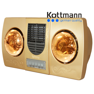 Đèn sưởi 2 bóng Kattmann kèm thổi gió nóng K2-BHW-G
