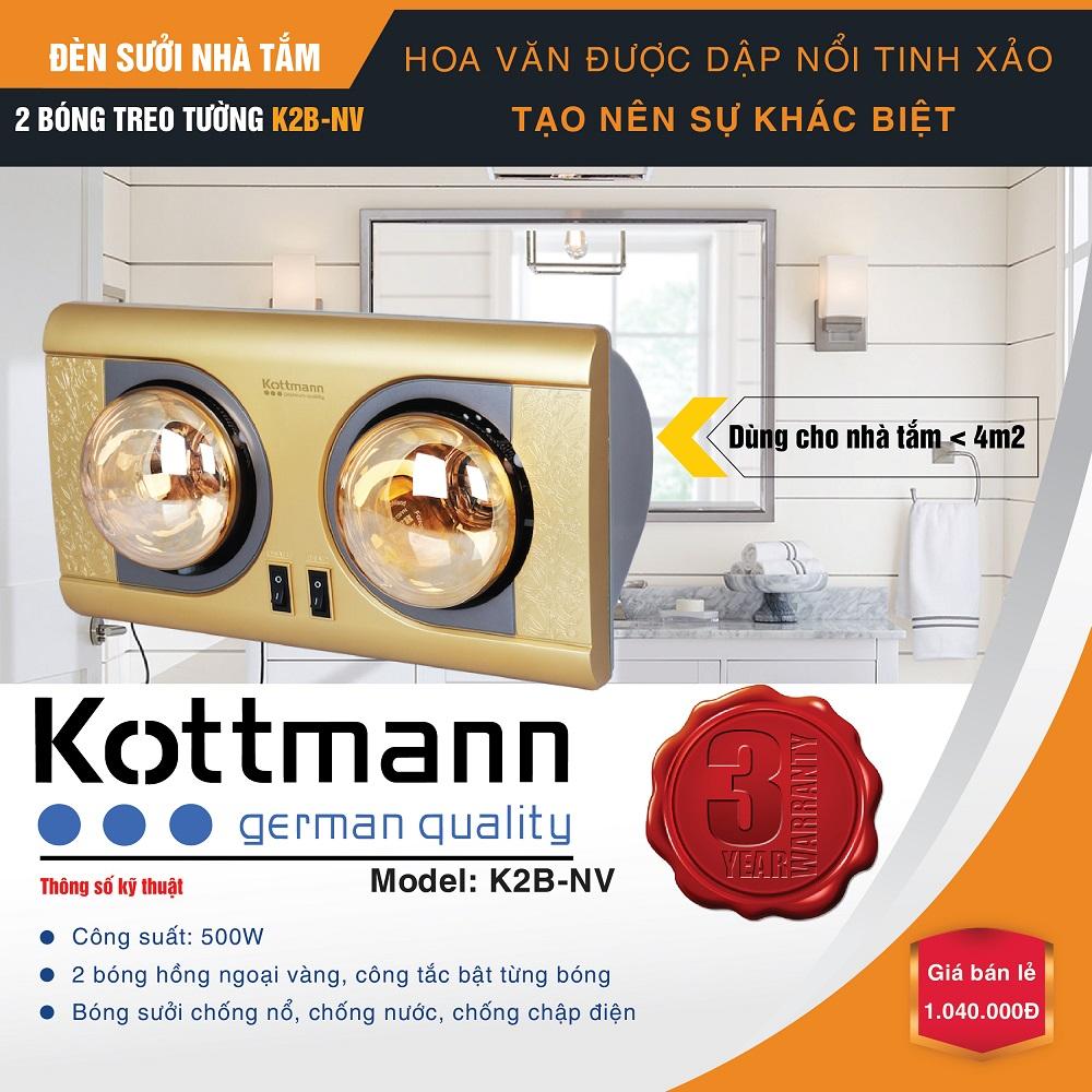 Đèn sưởi 2 bóng treo tường Kottmann K2B-NV 2