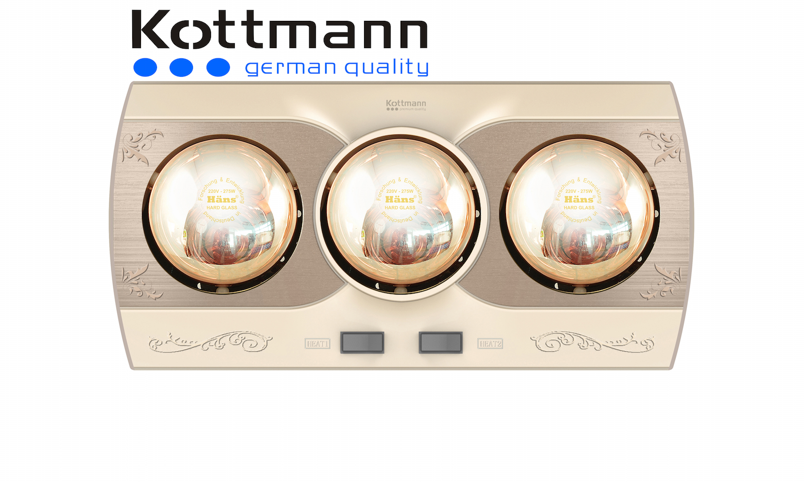 Đèn sưởi 3 bóng treo tường Kottmann K3B-Q 1
