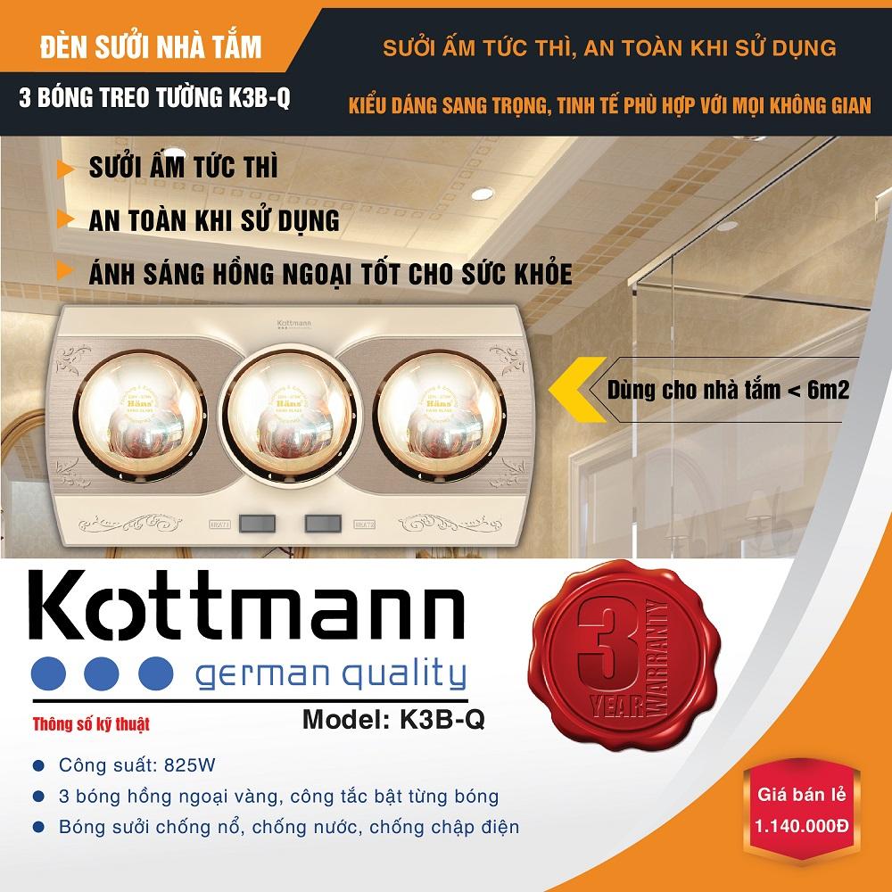 Đèn sưởi 3 bóng treo tường Kottmann K3B-Q 2