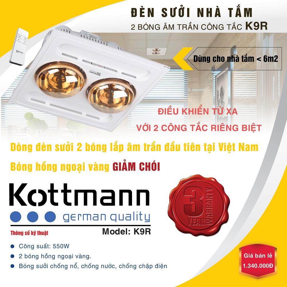 Đèn sưởi 2 bóng âm trần Kotmann K9-R (điều khiển từ xa) 2