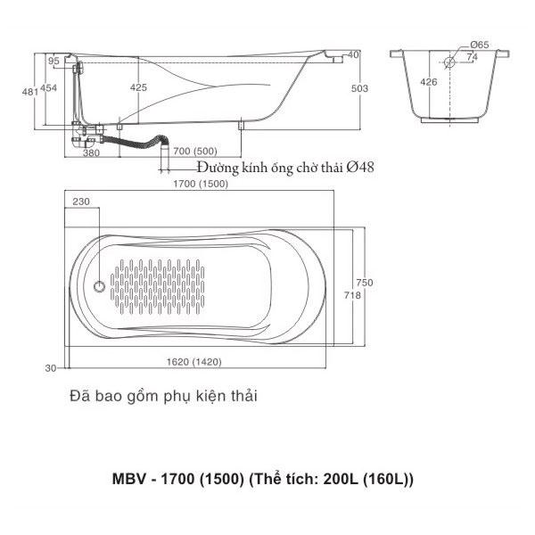 Bản vẽ kĩ thuật Bồn tắm INAX Galaxy MBV-1700