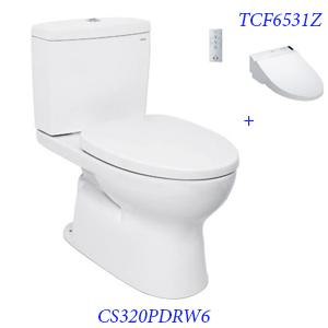 Bàn cầu hai khối TOTO CS320PDRW6 thoát ngang + nắp điện tử TCF6531Z
