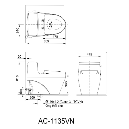 Bản vẽ kỹ thuật bồn cầu một khối inaxAC-1135VN