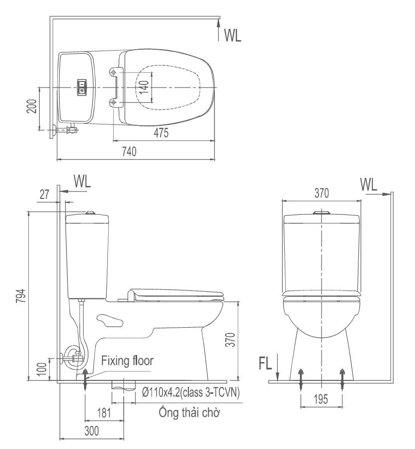 Bản vẽ kĩ thuật bồn cầu hai khối inax AC-808VN