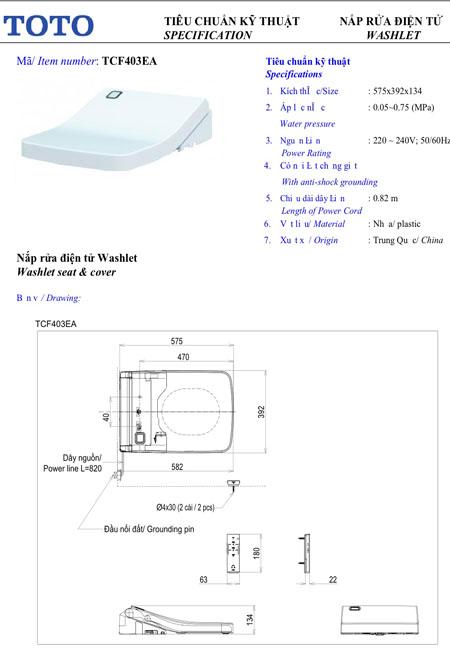nắp rửa điện tử WashletTCF403EA
