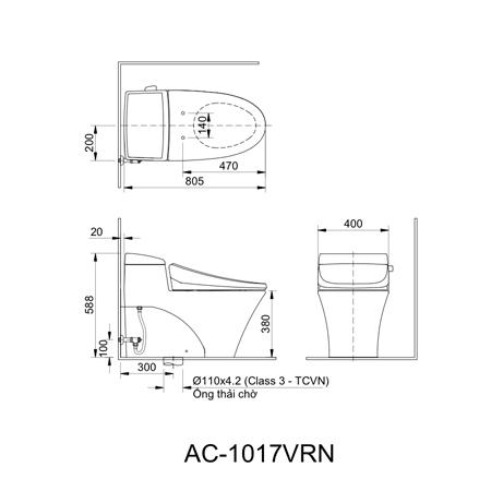 Bản vẽ kỹ thuật bồn cầu một khối inax AC-1017VRN