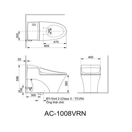 Bản vẽ kỹ thuật bồn cầu một khối inax AC-1008VRN