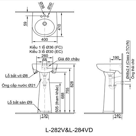 Bản vẽ kĩ thuật chân dài Inax L-284VD