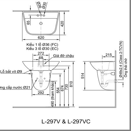 Bản vẽ kỹ thuật Chậu rửa treo tường INAX L-297V