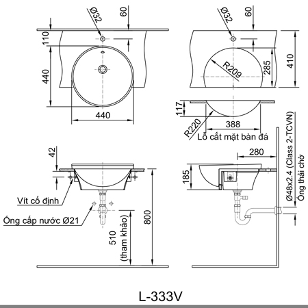 Bản vẽ kỹ thuật Chậu rửabán âmbàn inax L-333V