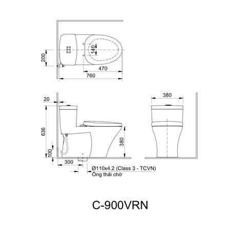 Bản vẽ kĩthuật bàn cầu một khối Inax AC-900VRN