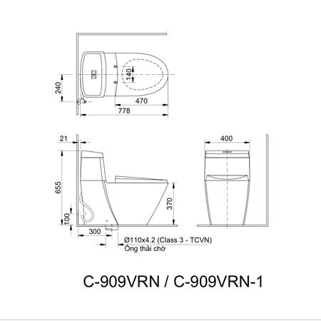 Bản vẽ kỹ thuật bồn cầu một khối inax AC-909VRN