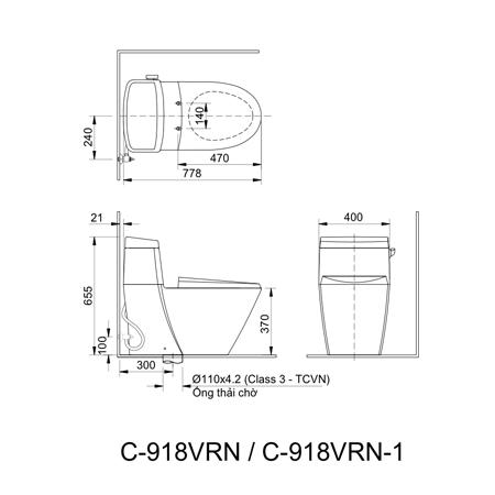 Bản vẽ kĩ thuật bồn cầu inax AC-918VRN