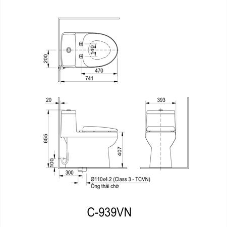 Bản vẽ kĩ thuật Bồn cầu một khối inax AC-939VN