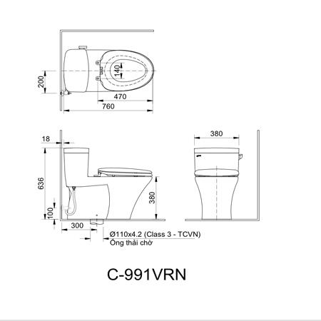 Bản vẽ kỹ thuật bàn cầu một khối Inax AC-991VRN
