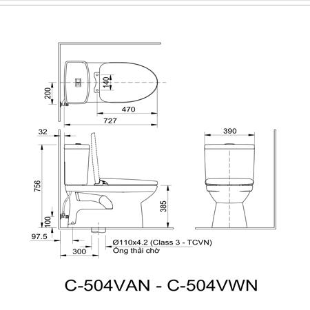 bản vẽ kĩ thuật Bồn cầu hai khối inax AC-504VWN