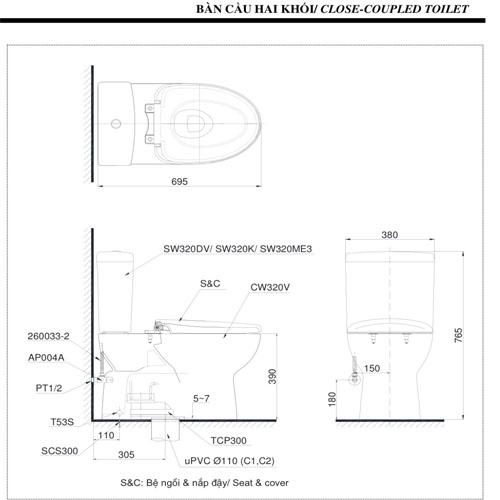 thông số kỹ thuật Bồn cầu TOTO CS320DRW4 nắp điện tử TCF4731A hai khối