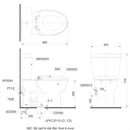 thông số kỹ thuật Bàn cầu TOTO CS300DRT3 hai khối