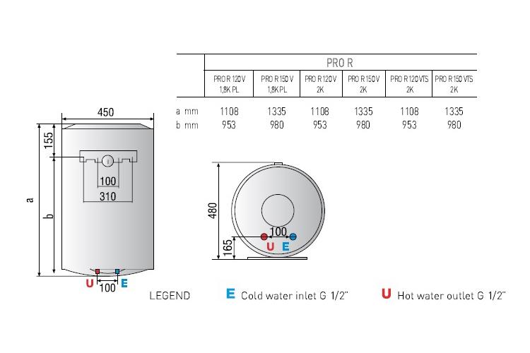 Bình nước nóng Ariston 150L treo đứng 2