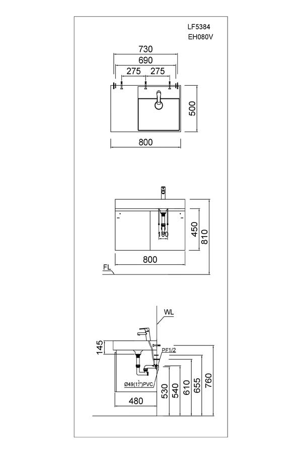 Bản vẽ Bộ tủ chậu Caesar LF5384 +EH080V