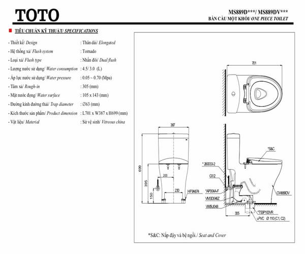 Bồn cầu một khối TOTO MS889DRT3