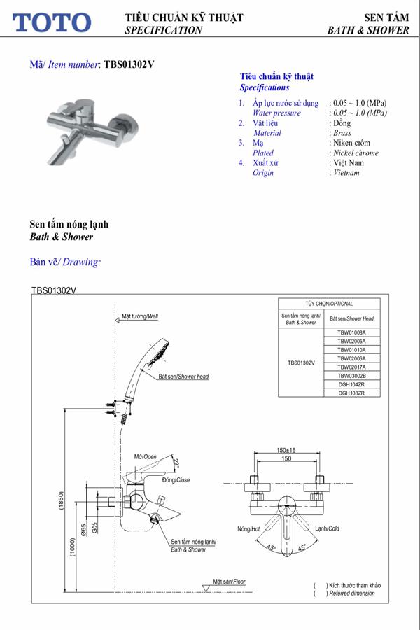 Thông số kĩ thuật Sen tắm TOTO TBS01302V/TBW01010A
