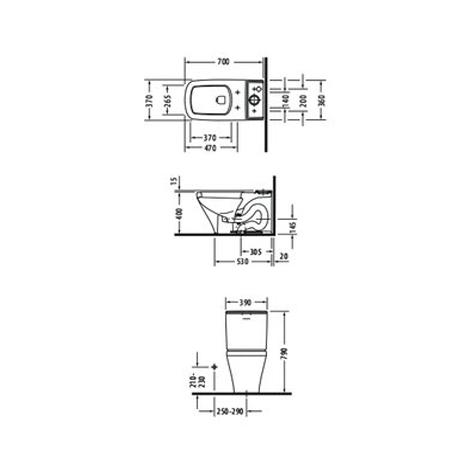 Bản vẽ Bồn cầu hai khối Duravit Durastyle 588.45.442