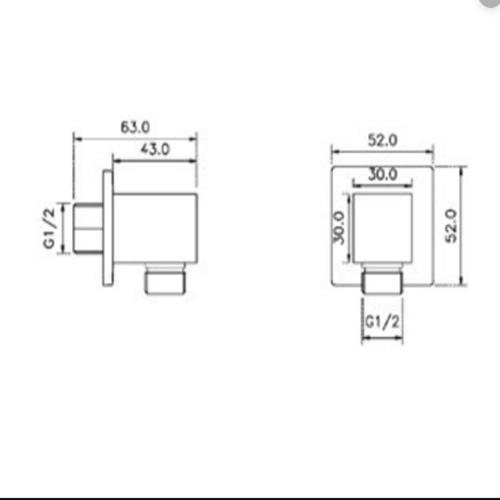 Bản vẽ Bộ tiếp nước dạng vuông Hafele 485.60.009