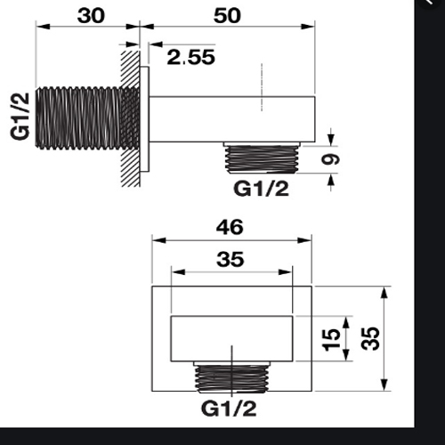 Bản vẽ Bộ tiếp nước dạng vuông Hafele 485.61.031