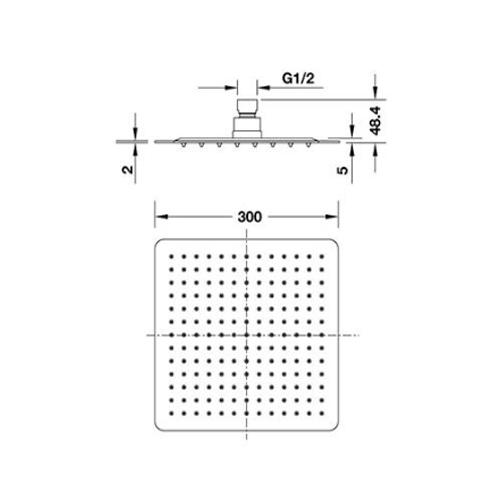 Bản vẽ Sen đầu vuông UltraSlim Hafele 485.60.306
